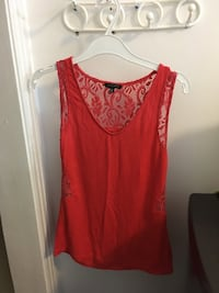red lace v-neck tank top