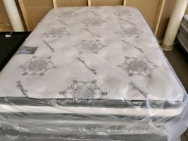 Brand new organic double sided PILLOW top mattress and matching box