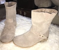 ANTHROPOLOGIE ECOTE Women's Tan Soft Suede Ankle Moto Biker Boots 7.5  Puyallup, 98375