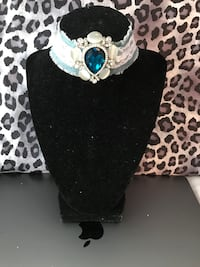 silver-colored pendant necklace with blue gemstone Houston, 77036