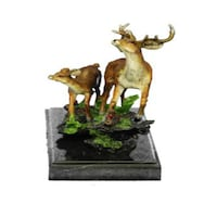 Deer Fawn Stag Buck Family Bronze Sculpture (8X7 Inches) Sterling