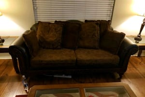 Love seat couch and leather recliner