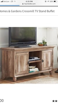 "Better Homes and Gardens Crossmill Collection TV Stand Buffet for TVs up to 65"" With 3 Adjustable Shelves-Weathered Alexandria, 22304"