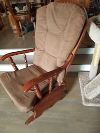 brown wooden recliner chair with grey padded seat North Vancouver, V7J 3H7