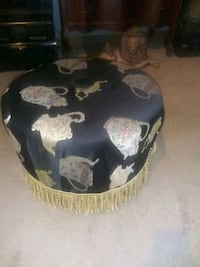 Ottoman with Teapot Fabric