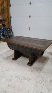 Whiskey barrel coffee table  null