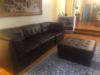 black leather sectional sofa with ottoman Centreville, 20120