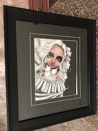 Woman with white dyed hair portrait painting with black wooden frame Gatineau, J8T