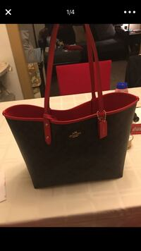 black and red leather tote bag Eastpointe, 48021