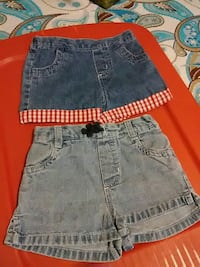women's two blue denim shorts