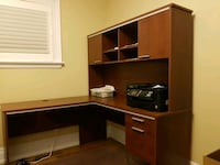 brown wooden computer desk with hutch Toronto, M4J 2J2