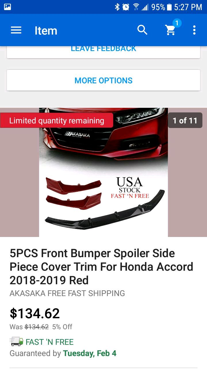 5PCS Front Bumper Spoiler Side Piece Cover Trim For Honda Accord 2018 2019 AKASAKA White