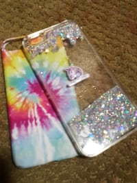two multicolored iPhone hard cases