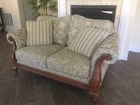 Taupe & Ivory embroidered Loveseat