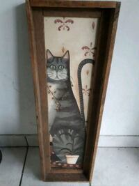 Really old weird cat photo in wooden frame Hamilton, L8N