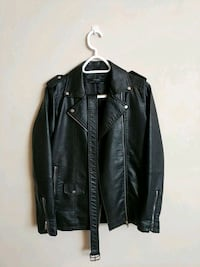 black leather zip-up jacket Saint John, E2K