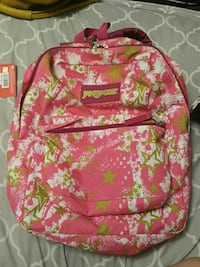 red and white floral backpack Toronto, M4C 4E2