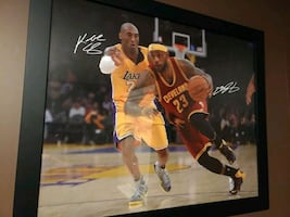 LeBron and Kobe picture in a frame