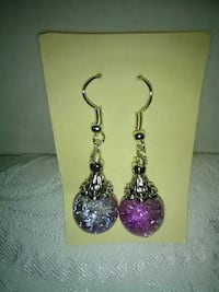 purple and silver hook earrings Inverness