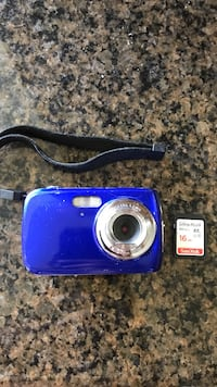blue point and shoot camera