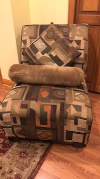Brown and black fabric sofa chair accent chair with brown beige dark green light green mustard colour Homer Glen, 60491