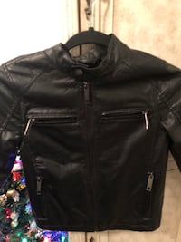 black leather zip-up jacket Toronto, M5R 1C4