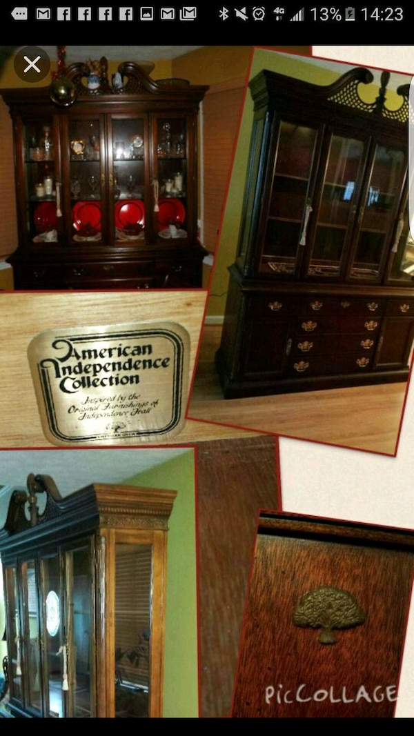 Antique Brown Dining Room Hutch