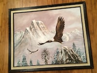 Painting Acrylic Wood Frame Eagles Mountains Trees Surrey