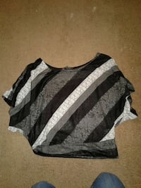 black, gray and white floral scoop neck blouse Fort Wayne, 46835