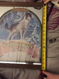 Vintage Nordik wolf light beer mirror