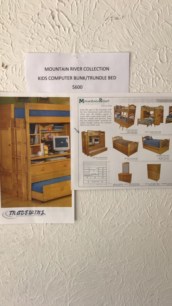 4e381bc557 Used Amber wood Children's computer/Bunk/Trundle Bed selling for a friend  located in South Bend for sale in Mishawaka - letgo
