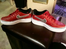 Red,white, and black Air Force1s!!!        Size 4 in boys
