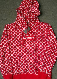 felpa con cappuccio rosso Louis Vuitton X Supreme Monogram Canvas con coulisse 6813 km