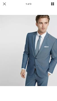 NWT $228 Slim Photographer Micro dot cotton blend blue suit jacket blazer 36S Silver Spring, 20910