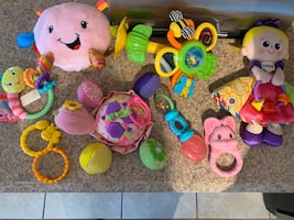 Baby girl teething and toy lot