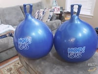 two blue-and-white bowling balls 7 km
