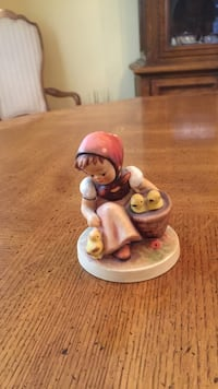 Girl carrying basket with birds ceramic figurine