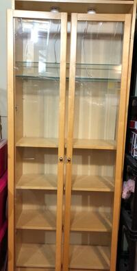 Brown wooden framed glass display cabinet Calgary, T3G