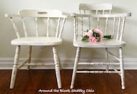 Vintage shabby chic solid wood captain's chairs