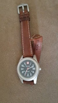 Swiss Army Watch with brown leather band