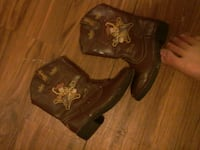 pair of brown leather Toy Story Woody leather cowb