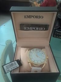 Emporio woman's white and gold wrist watch