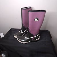 SOREL Sorellington Canvas Rubber Tall Rain Mud Waterproof Boots Womens Size 10   Excellent condition, well taken care of...smoke and pet free home!  VIEW MY OTHER ADS!!! Toronto