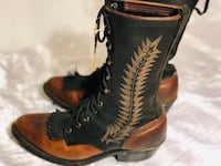 Ladies 7 1/2 black/brown leather lace-up cowgirl boots Kelowna