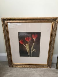 painting of red flowers with brown wooden frame Raleigh, 27616