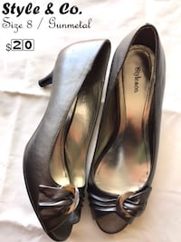 pair of black leather peep-toe heeled shoes Cypress, 90630