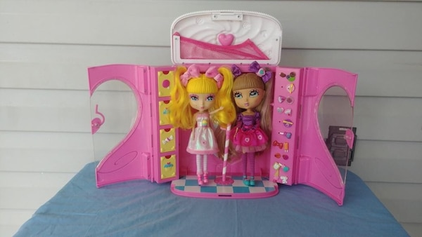 girl with pink dress dolls