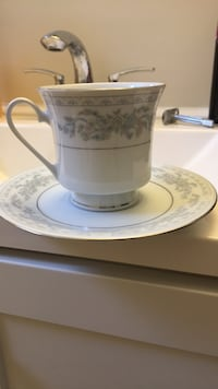 White and blue floral tea set nine plates and nine cups . Asking 25 or best offer need gone Edmonton, T5R 1M3