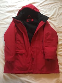 black and red Adidas zip-up jacket null