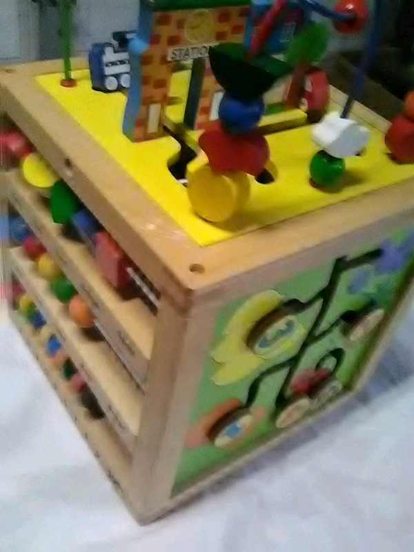 Wooden Activity Cube.. waiting room toys for kids